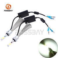 POSSBAY 1 Pair LED Car Headlight Bulb H7 H3 H11 12V Auto Led Lamp 6500K Automobiles