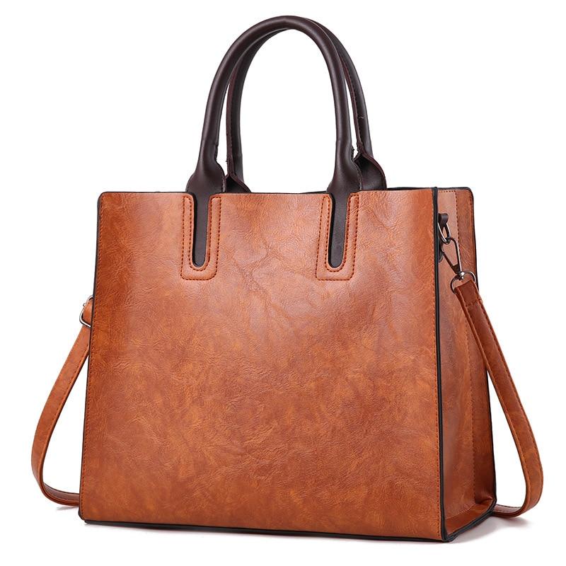 Women Solid Color Leather Handbags, Korean Simple And Elegant Fashion Handbags