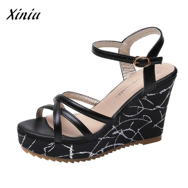 fe1762268a03 xiniu Summer Shoes Fish Mouth Non-slip Platform High Heels Sandals Buckle  Slope Sandals Wedge Women Sandals 2018 Ladies Shoes