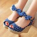 Sapatos de Plataforma de verão Senhoras Peixe bolinhas Arco Cunhas Plataforma Saltos do dedo do pé Das Mulheres Sapatos de Duas Peças Senhoras Sapatos Azul Vermelho