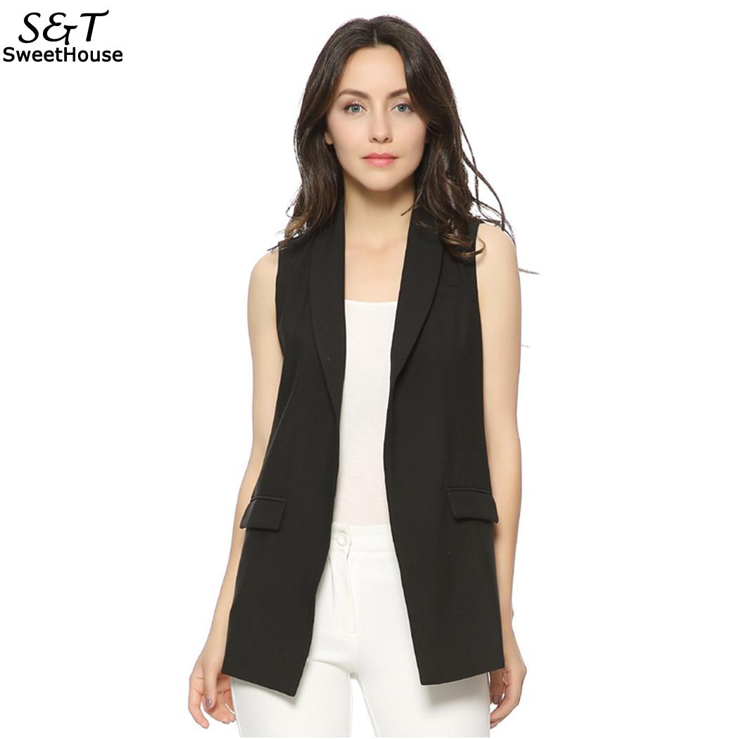 Fanala Outwear Woman Sexy Open Stitch Sleeveless Solid Busty Pocket Jacket Woman -2726