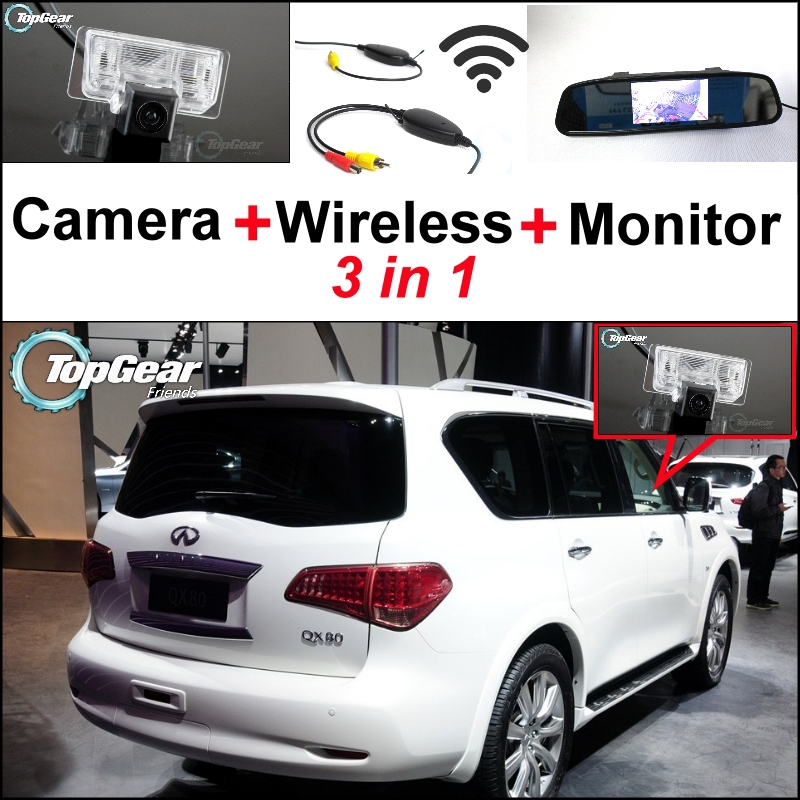 3 in1 Special Rear View Camera + Wireless Receiver + Mirror Monitor Easy DIY Parking System For Infiniti QX56 QX80 vilaxh for epson p600 chip resetter for epson surecolor sc p600 printer t7601 t7609 cartridge resetter