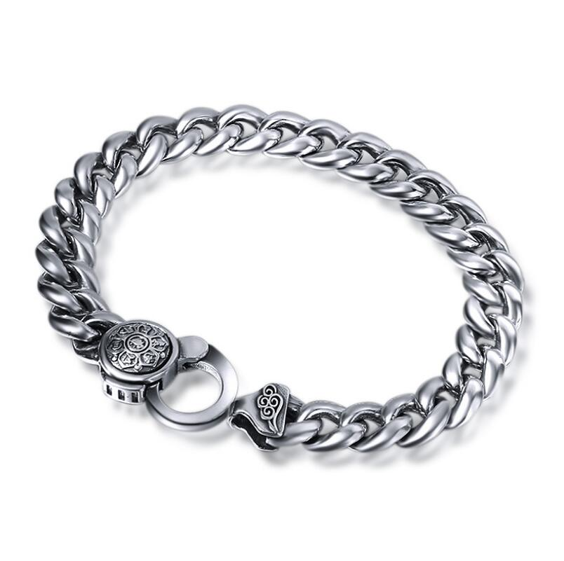 925 sterling silver fashion jewelry Thai silver Chain Link bracelet 2018 thai silver jewelry 925 sterling silver men bracelet male domineering personality retro fashion chain link charm bracelet