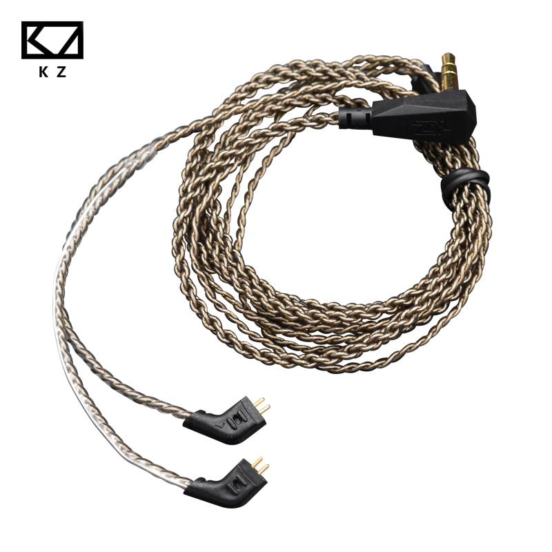 Argent Placage Mise À Niveau Câble pour KZ ZST ED12 ES3 ZSR ZS10 ES4 0.75mm Écouteurs Remplaçable Audio Câbles pour KZ Écouteurs casque