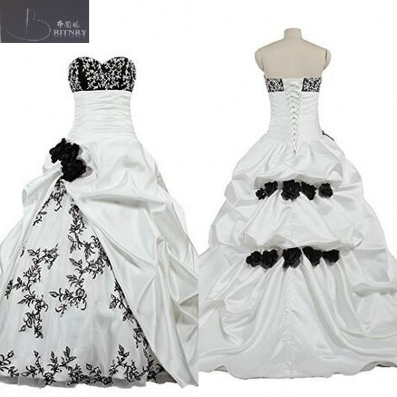 Vintage Black and White Wedding Dress Sweetheart Neck Pick ups Skirt Bridal Gowns with Hand made