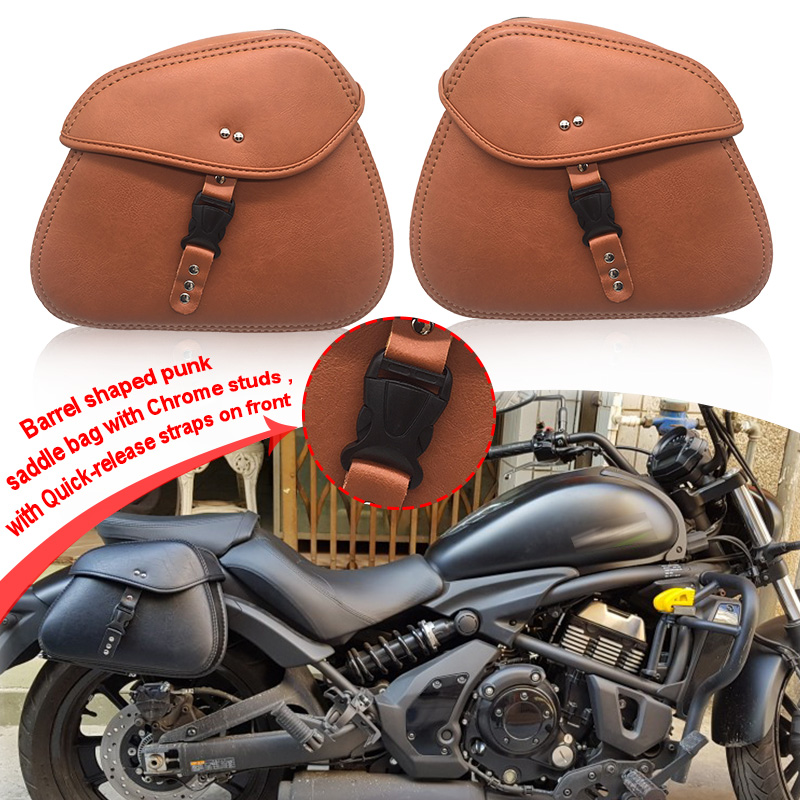 2pcs Universal PU Leather Motorcycle Saddlebag For Harley Sportster XL883 XL1200 For Honda For Suzuki For Kawasaki For Yamaha
