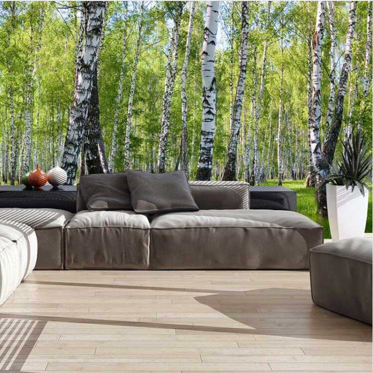 3d Nature Landscape Birch Trees Forest Photo Wallpaper Murals For Living Room Bedroom Custom Home Office Wall Decor Wall-papers