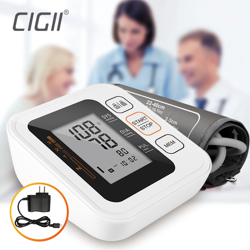 Cigii Portable Digital Upper Arm Blood Pressure Monitor Heartbeat test Health care monitor 2 Cuff Tonometer