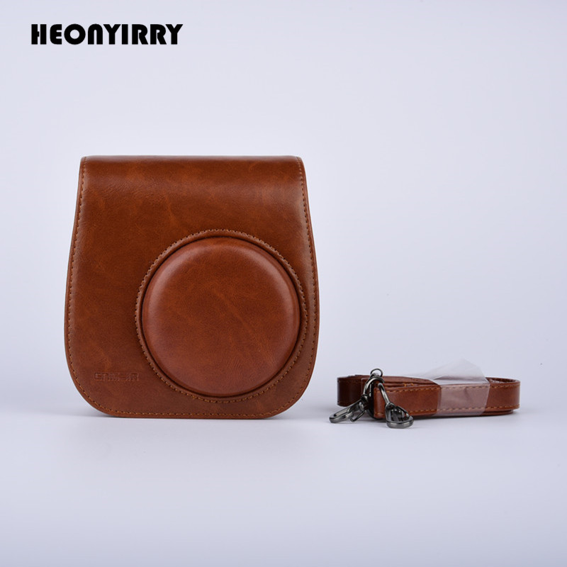HEONYIRRY Leather Camera Bag Protect Case Pouch For Fujifilm Instax Mini 8 8+Mini 9 Cases Small PU Instant Camera Shoulder Bag