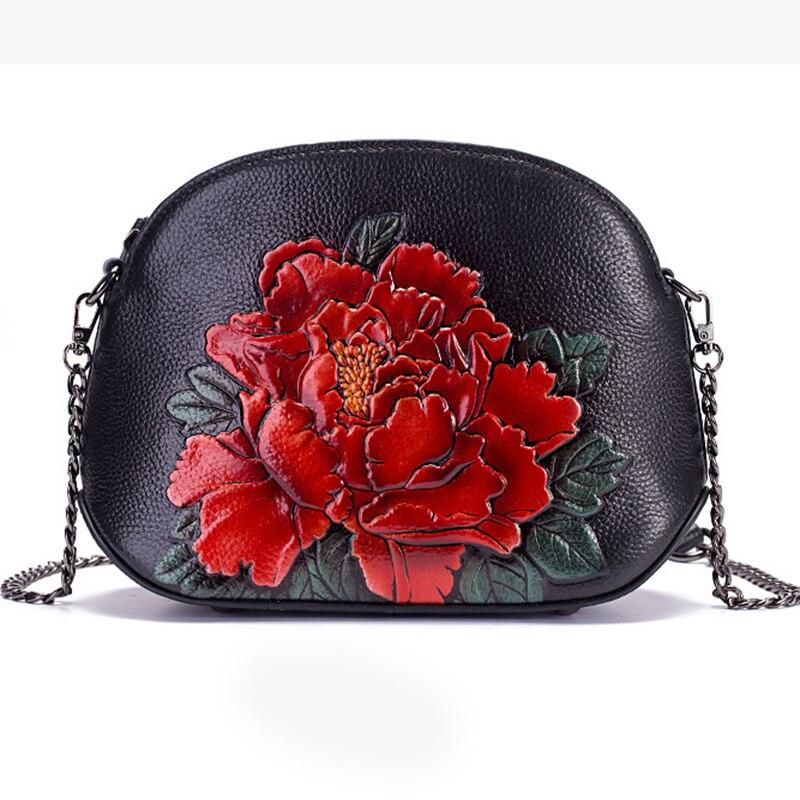 Bolsa de Ombro Mulheres Mensageiro Floral Padrão Alta Qualidade Estilo Vintage Couro Genuíno Mini Peônia Cruz Corpo Concha Bolsas