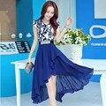 2016 verão mulheres da cópia da flor do vintage vestido formal do estilo Chinês elegante floral lady vestuário vestido de festa irregular azul, preto