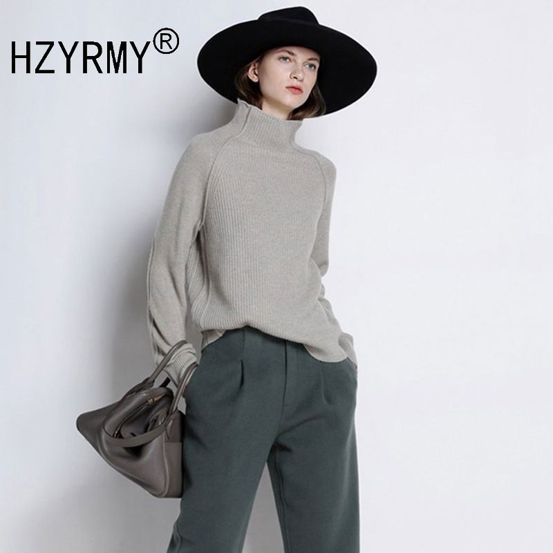 HZYRMY Autumn Winter New Women's High Collar Cashmere Sweater Fashion Solid Soft Slim Thick Shirt Wool Pullovers Short Sweaters