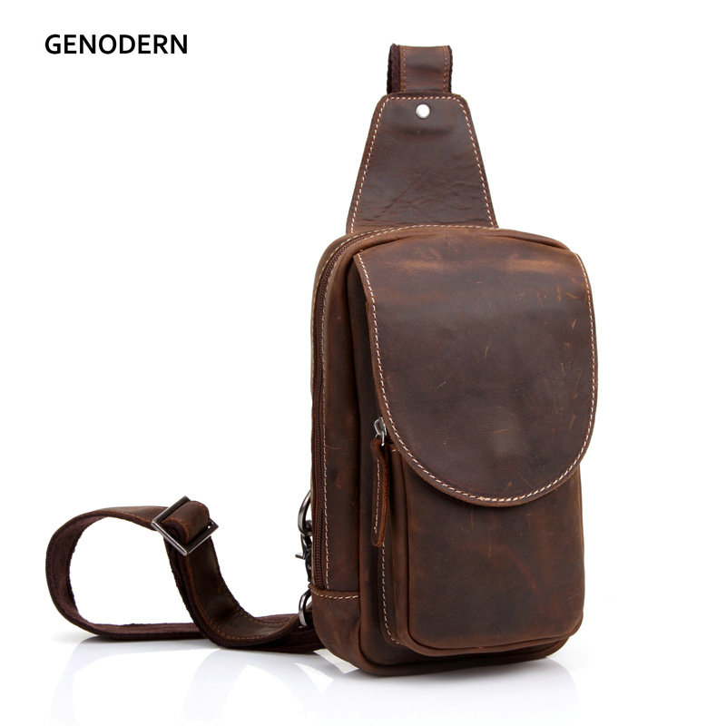 GENODERN Genuine Leather Men's Crossbody Bag Single Shoulder Chest Sling Pack Bag Leisure Messenger Crossbody Chest Bag for Men стоимость