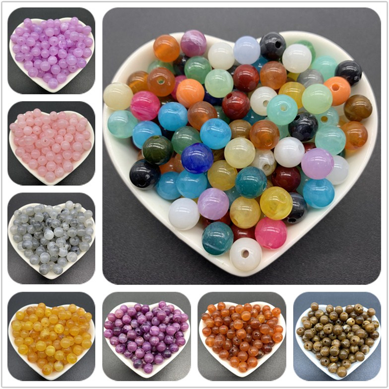 6mm 8mm 10mm Acrylic Spacer Beads Round Loose Cat's Eye Beads For Jewelry Making DIY Bracelet Necklace Accessories(China)