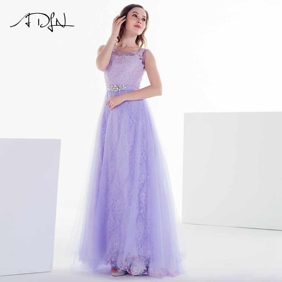 ADLN Scoop   Prom     Dress   2018 New Arrive Lace Tulle A-line Formal Long Evening Party   Dress   with Crystal Belt