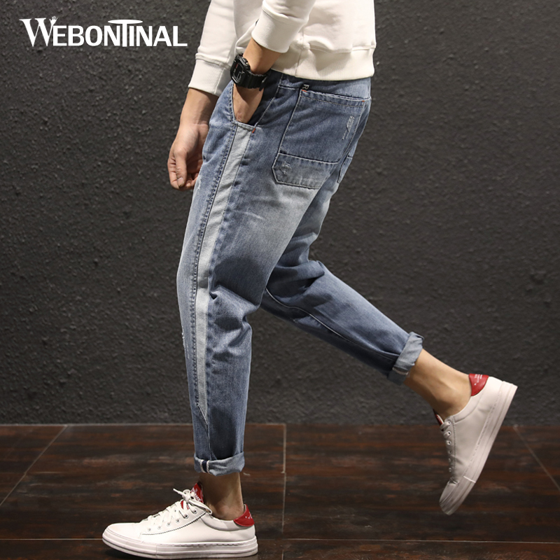 WEBONTINAL 2018 Spring Harem Jeans Men Distressed Streetwear Hiphop Denim Trousers Casual Fashion Loose Hip Hop Patchwork 8323