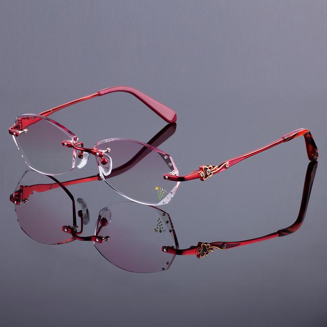Melhor red mulheres quadro titanium da liga frame ótico rimless estilo diamante de corte corte sem aro óculos com lentes gradiente matiz