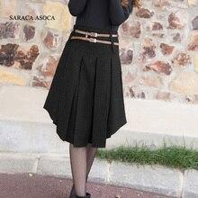 新しい小売 2 色固体不規則なプリーツスカートの女性のファッションミッドふくらはぎショートスカートの冬