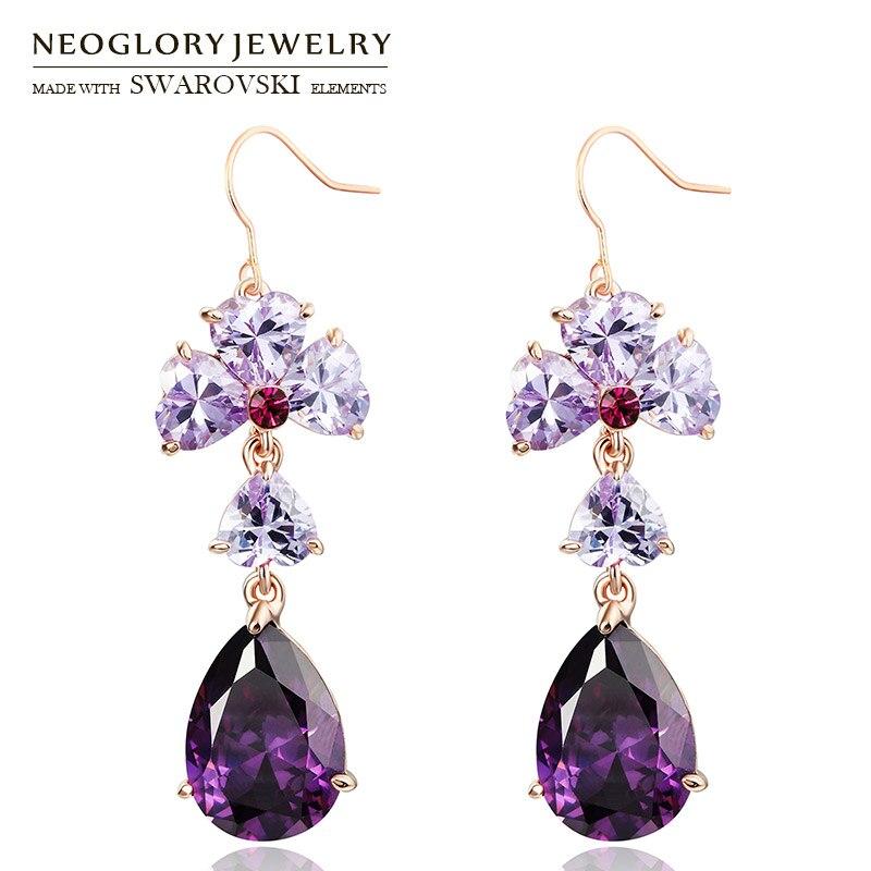 Neoglory Austria Rhinestone   Zircon Dangle Long Earrings Purple Water Drop  Style Jewelry Rose Gold Color a69908301cb7