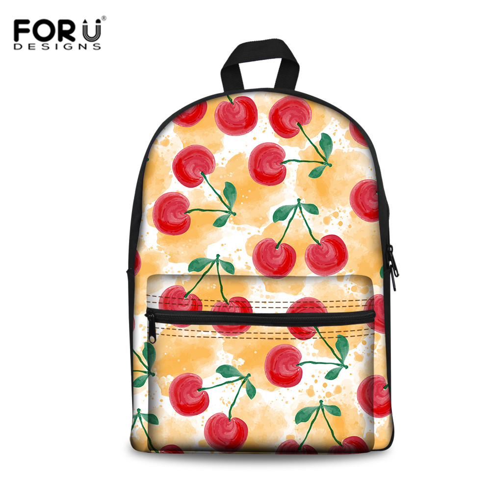 FORUDESIGNS Cherry Fruit Pattern Schoolbags For Teenagers Kids Big Canvas School Bags Cute Bagpack Satchel Women Female Mochila