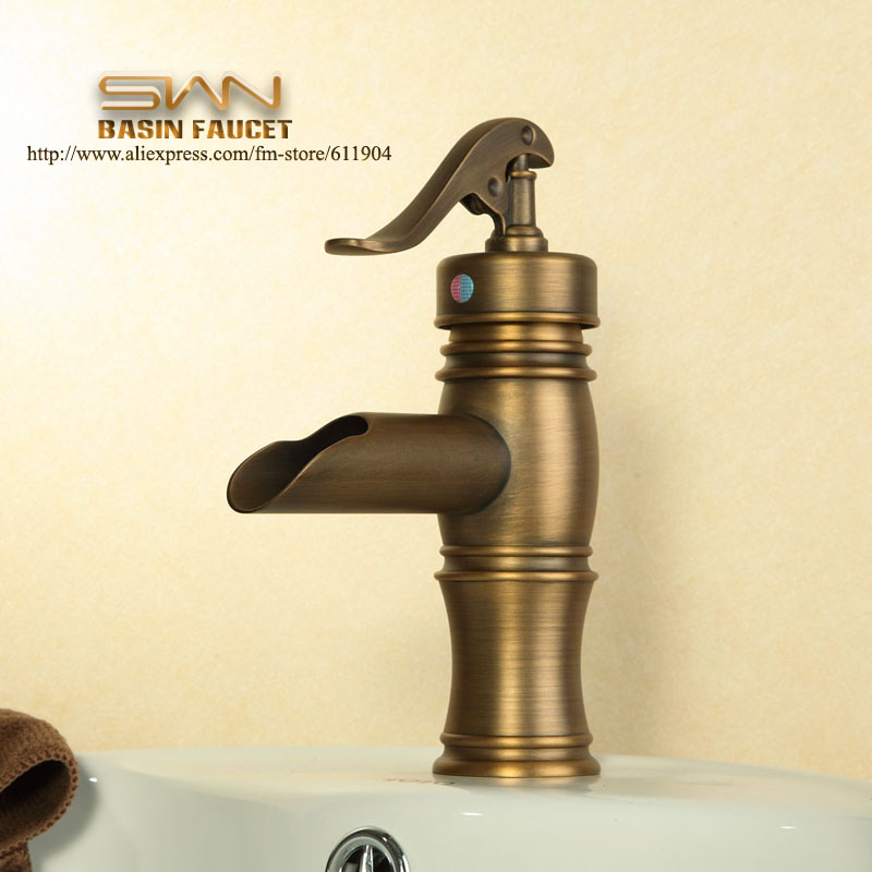 Free Shipping Pump Style Open Spout Bathroom Faucet Lavatory Vessel Basin faucet Mixer Tap Antique Brass Cold Hot Water taps free shipping chrome brass bathroom faucet lavatory vessel sink basin faucet mixer taps cold hot water tap swivel spout 2231361