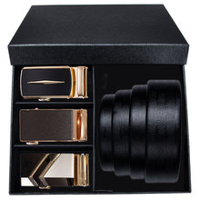 Hi-Tie luxury Brand Box Belt Men Gold Buckle High Quality Cowhide Genuine Leather Men's Waist Belt Jeans Strap Automatic 160cm цена