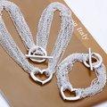 Comercio al por mayor de joyería plateada de Plata, collar + pulsera de la joyería, envío Libre, S070