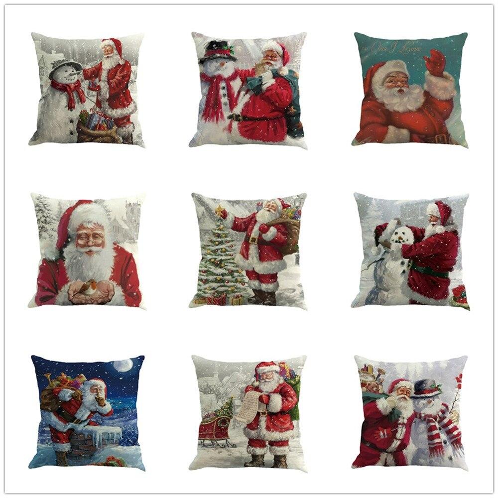 Cushion Cover 100% Quality Cotton Linen Christmas Sofa Car Throw Pillow Cushion Cover Case Home Decor Decorative Almofadas Para Sofa Cuscini Decorativi Home & Garden