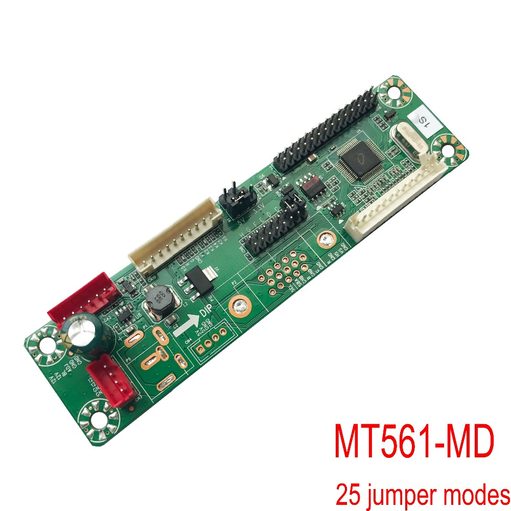 10-42inch LVDS Universal lcd driver board MT561-MD free program 12V 25kinds jump cable VGA+DC