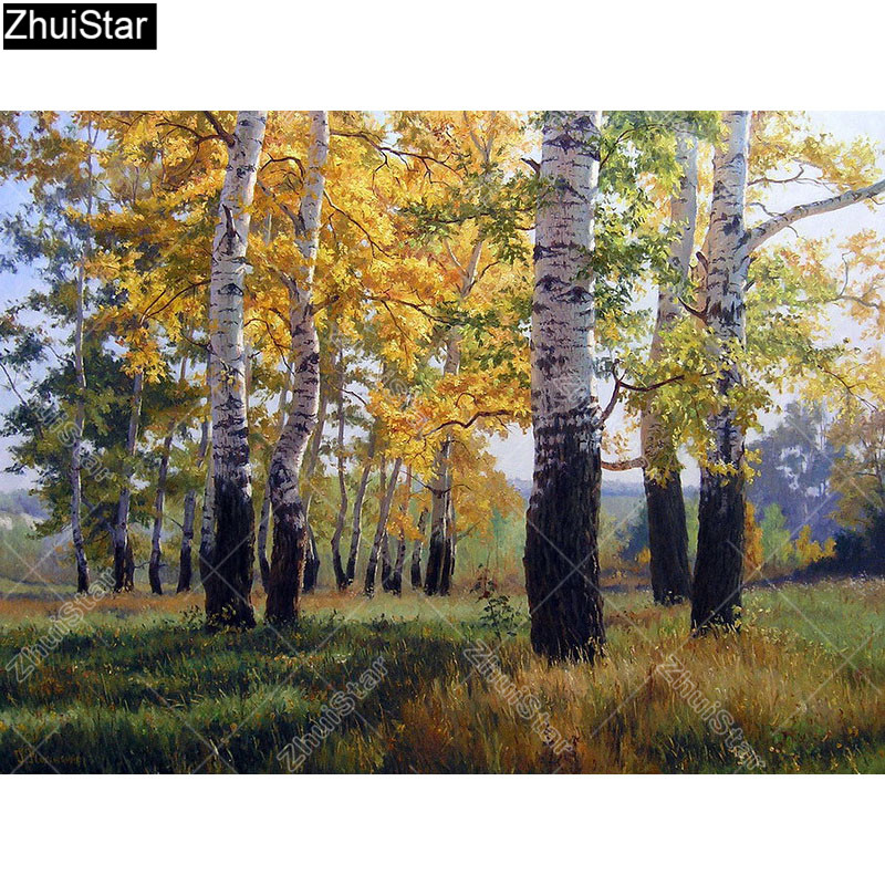 Zhui Star Full Square Drill 5D DIY Diamond Painting Birch forest 3D Embroidery Cross Stitch Rhinestone Mosaic Decor image