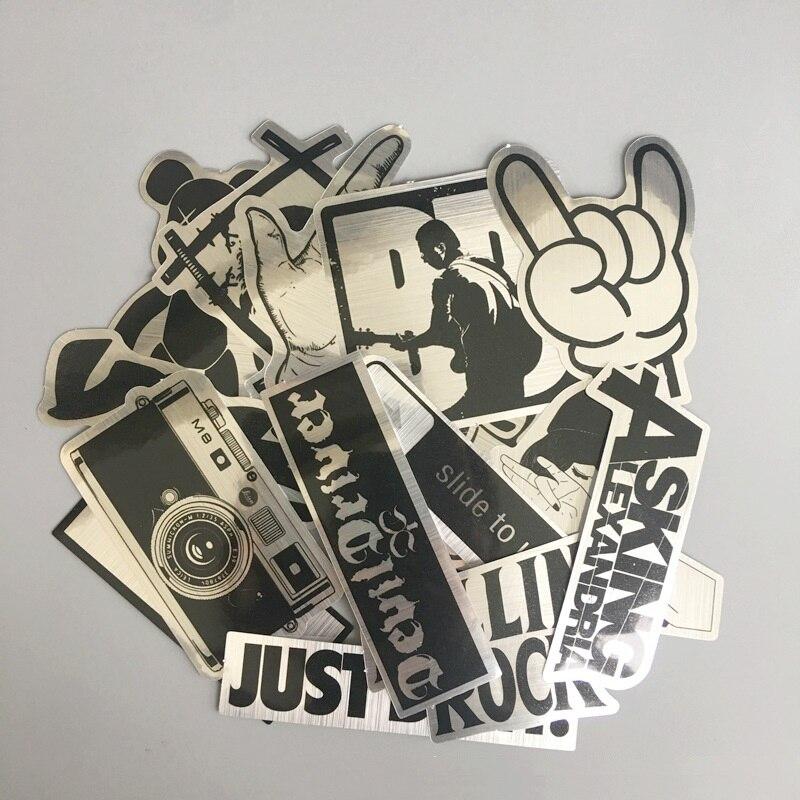 15Pcs/set Imitation Metal Waterproof Cartoon Sticker Trolley Case Suitcase Skateboard Graffiti Sticker Phone Tablet Sticker