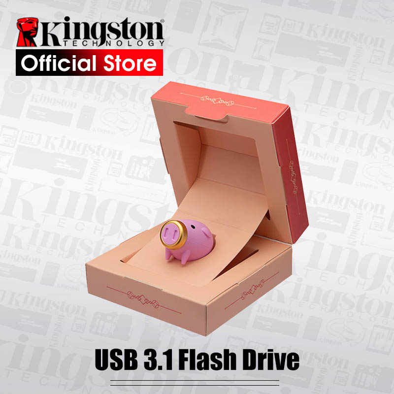 Kingston usb Flash Drive USB 3.1 Metal Pen drive 64GB high speed pendrive usb Disk Pig Year Commemorative Edition Best gift