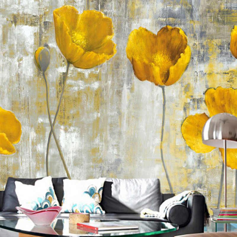 カスタム 3D ヨーロッパスタイルレトロ抽象花の写真の壁の壁画の壁紙 3 D リビングルームの寝室のアート壁布家の装飾