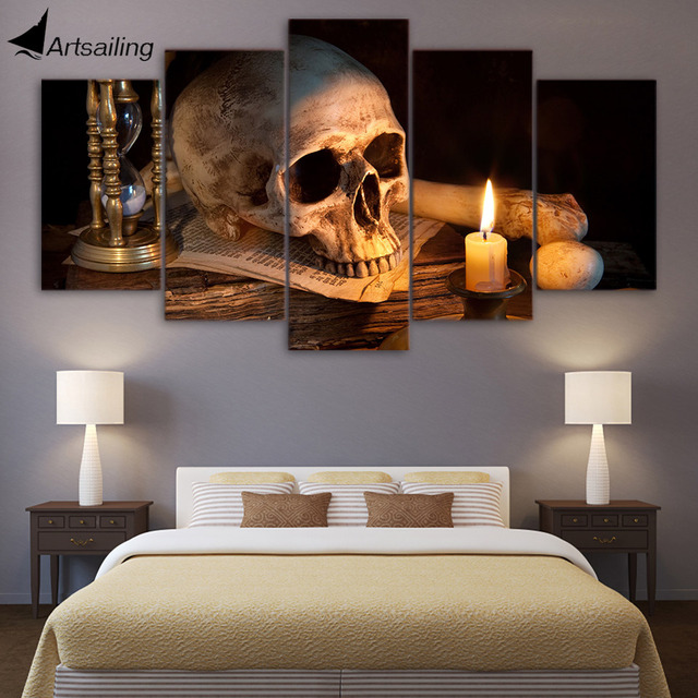 5 Piece Canvas Art Scary Skull Burning Candle HD Printed Wall Home Decor Painting