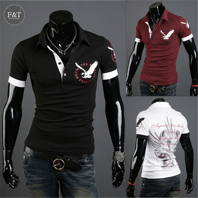 New Men's Fashion Eagle Printing short Sleeve Polo shirts Men's Casual Fitness Bottoming shirt Camisetas Masculinas [Asian Size]