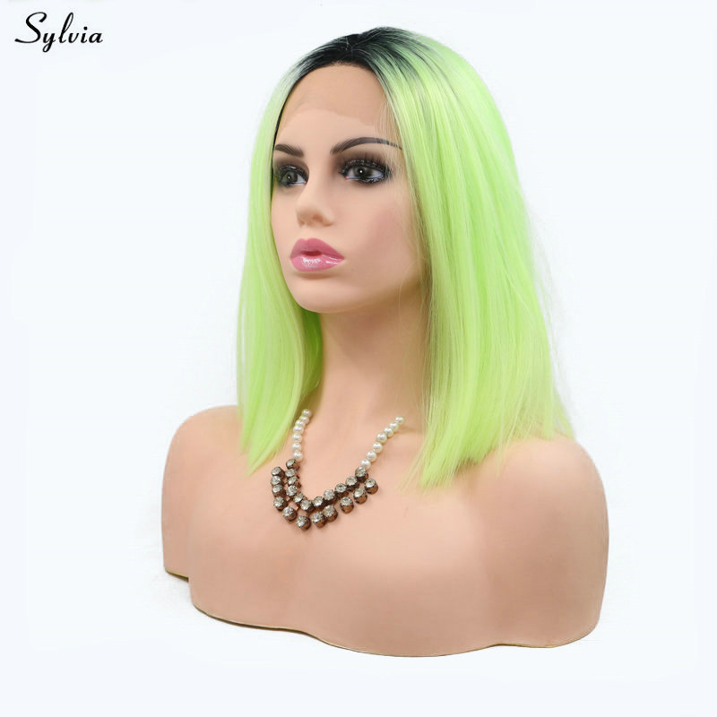 100% Quality Sylvia Short Synthetic Lace Front Wig Bob Wig Dark Roots To Fluorrscent Green Natural Hairline Lace Wig For White Women Cosplay