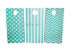 100% Recycled White Kraft Paper Shopping  Bags with Tiffany Blue turquoise chevron stripes polka dot , 36pcs /lot