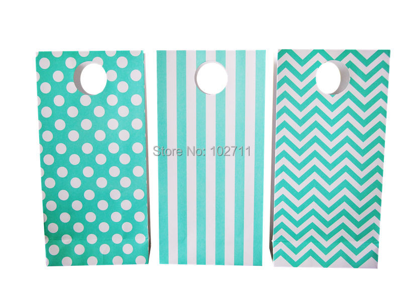 36pcs mixed Tiffany Blue turquoise polka dot / chevron / stripes party paper bags or u pick,100% Recycled White Kraft Paper Bag