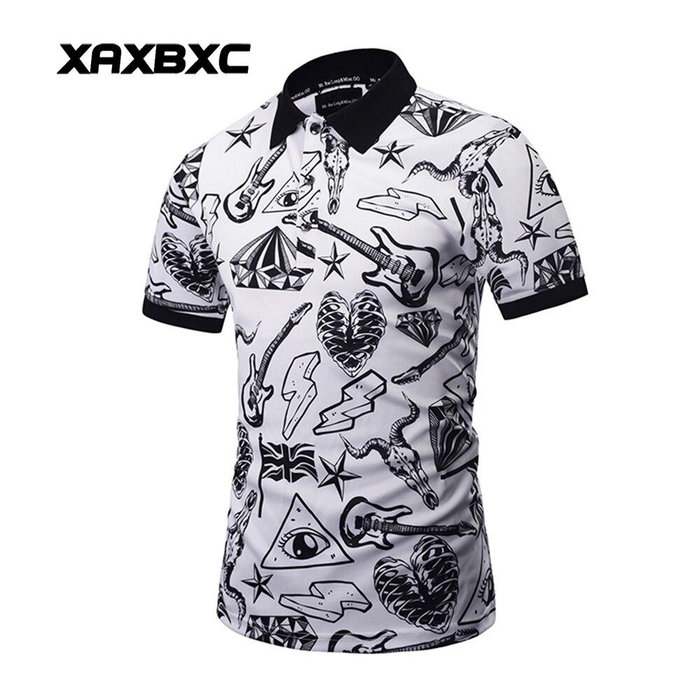 New 2017 Summer Classical Men Polo Shirt Guitar Flash Skull Scrawl Prints Quick-dry Slim Fit Short Sleeve Mens Tees Clothing