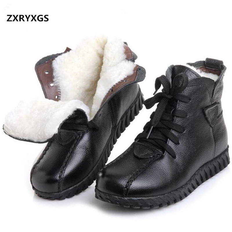 ZXRYXGS Brand Boot Winter Shoes Woman Snow Boots 2018 new Winter Warm wool Boots Flat Non-slip cow Leather Shoes Women Boots недорго, оригинальная цена