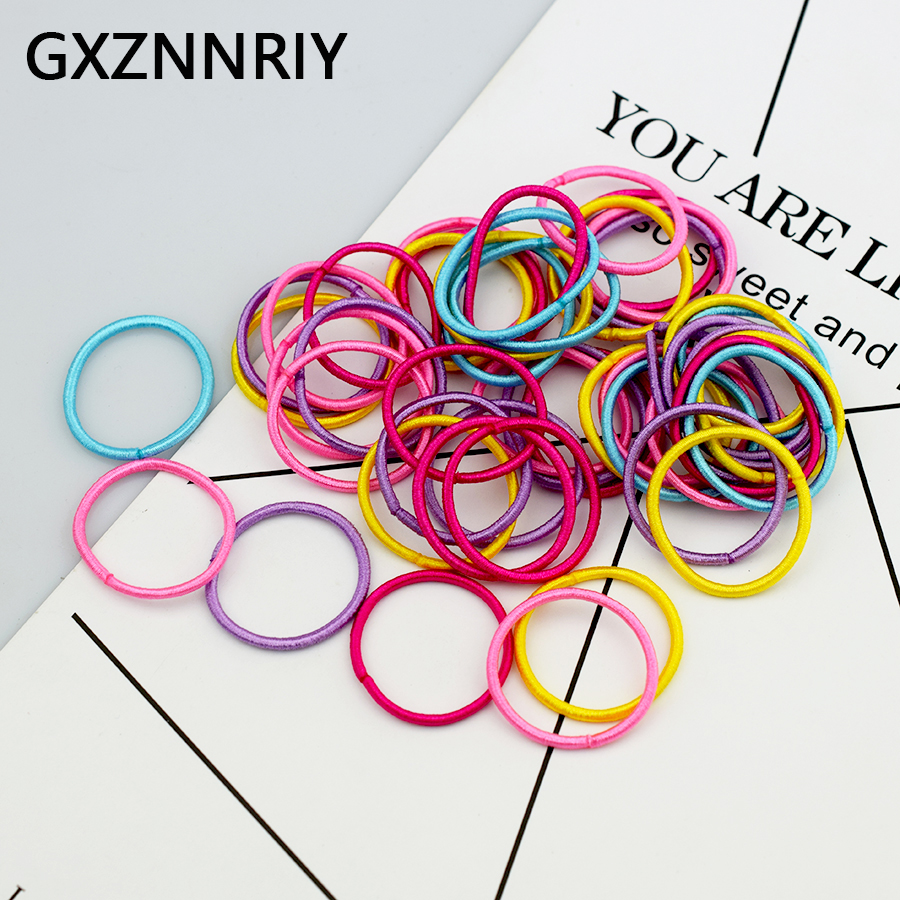 New 50PCS/Lot 3cm Rubber Elastic Hair Bands For Girls Accessories Ponytail Holder High Quality Fashion Baby Kids Scrunchies Gift