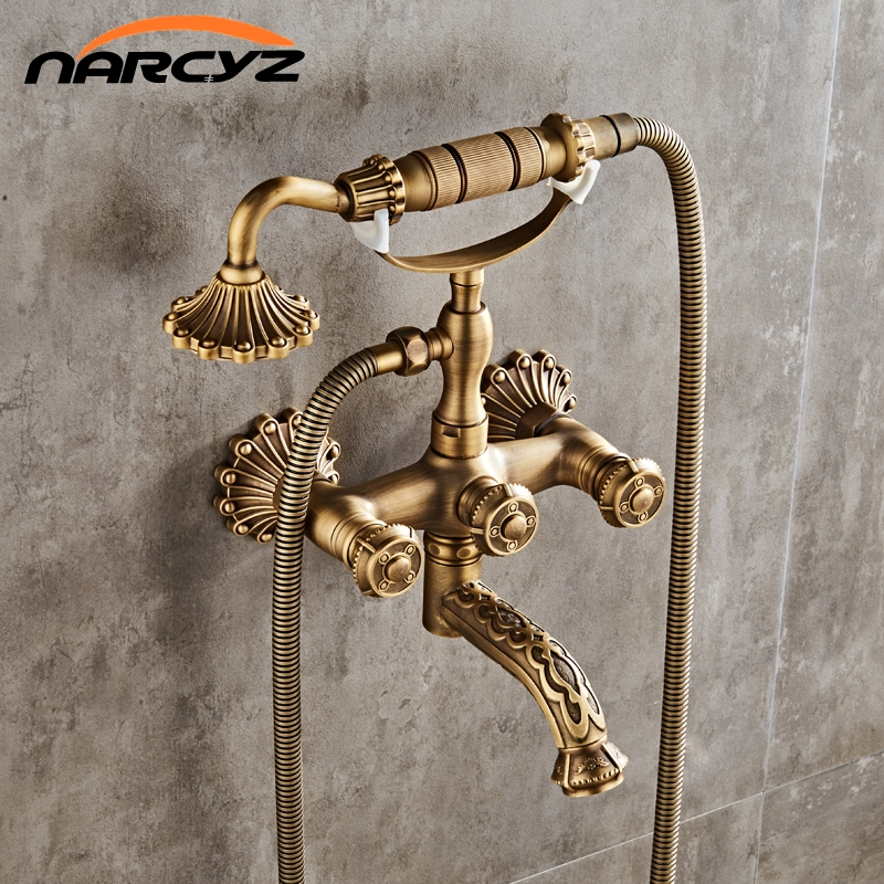 Luxury Antique Brass Bathroom Faucet  Mixer Tap Wall Mounted Hand Held Shower Head Kit Shower Faucet Sets XT335 wall mount single handle bath shower faucet with handshower antique brass bathroom shower mixer tap