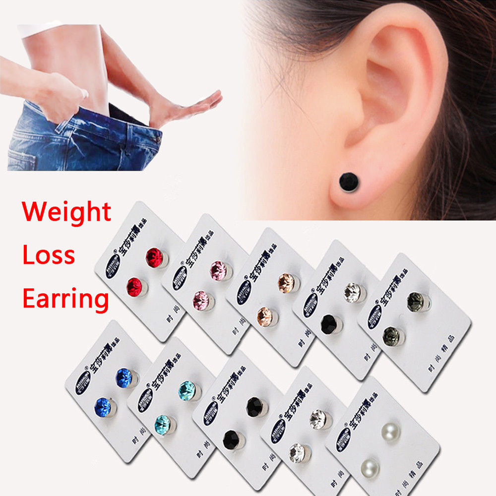 2018 New Magnetic Stud Slimming Earrings Slimming Patch Lose Weight Magnetic Health Jewe ...