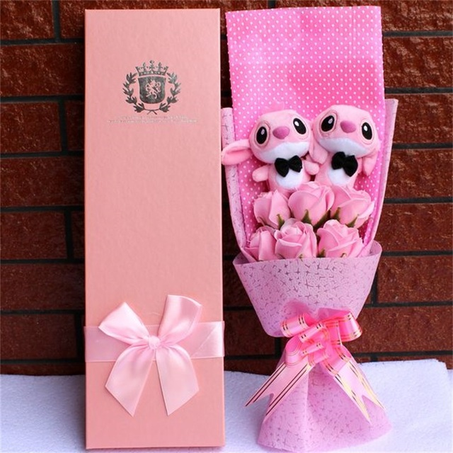 Diy Cartoon Plush Toys Stitch Stuffed Animal Doll Bouquet For Graduation/birthday / Wedding / Christmas Day For Girls Decoration 2
