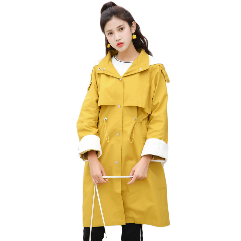 Spring Autumn Thin   Trench   Coat Women Korean Students Loose Large size BF Color Matching Waist Hooded Long Windbreaker Female 674