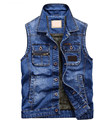 New Men's Denim Vest  Waistcoat Men  Jeans Jacket Coat Fashion clothing Vests M-4XL