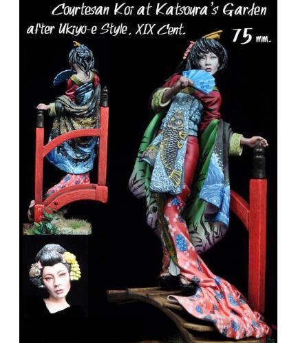 1/24 75MM JAPAN WOMAN STAND WINTER (WITH BASE )   Toy Resin Model Miniature Resin Figure Unassembly Unpainted