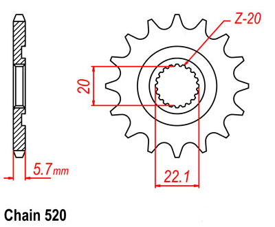 LOPOR Motorcycle Front Sprocket 520-14T For Yamaha Off Road WR250 F-Z ,A,B,D,E 2010 2011 2012 2013 2014