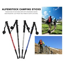 Alpenstocks 3-Section Adjustable Aluminum Alloy Canes Ultralight Pole Walking Camping Hiking Trekking Sticks Plastic Handle