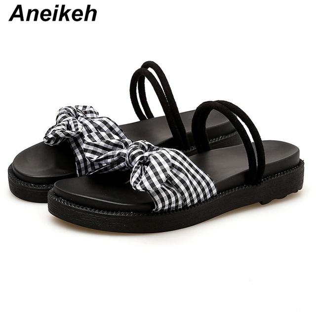 bf27ffeb3 Aneikeh Gladiator Women s Flat Sandals 2018 Fashion Summer Women Platform  Rome Sandals Black Casual Woman Bow Thick Soled Shoes